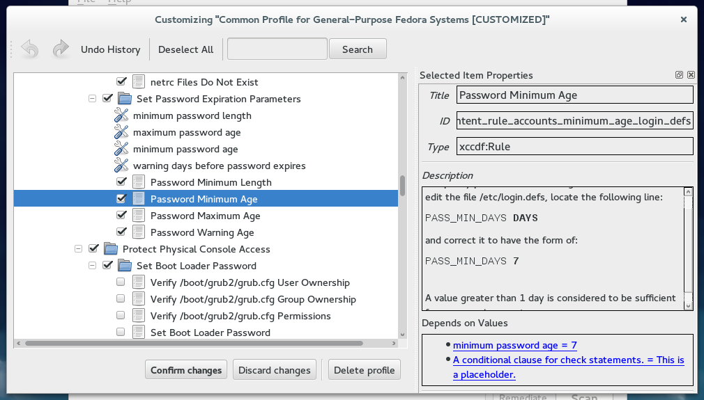 Customizing a profile in SCAP Workbench